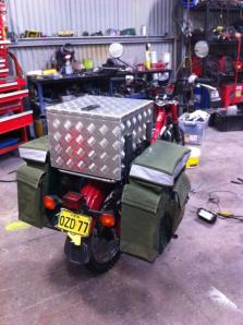 James' Bike nearly complete with Panniers and light weight aluminium toolbook